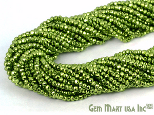 5 Strands Light Green Pyrite Micro Faceted Beads 3-4mm Gemstone Rondelle Beads - GemMartUSA