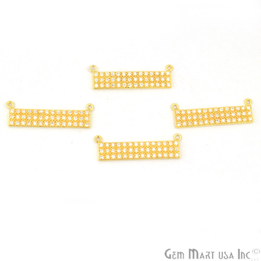 Cubic Zircon Pave 'Bar' Shape Gold Vermeil Charm for Bracelet Pendants & Necklace