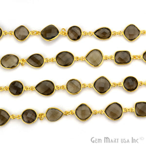Smokey Topaz 10-15mm Mix Faceted Gold Bezel Continuous Connector Chain - GemMartUSA