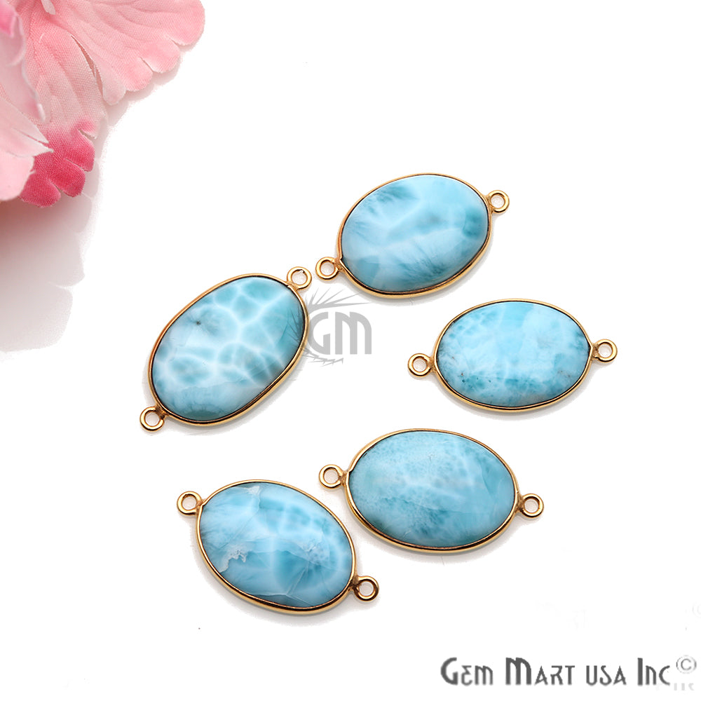 Larimar Cabochon Gemstone 27x15mm Gold Plated Connector