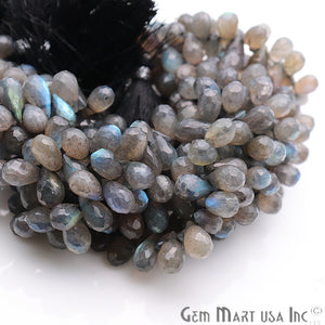 Labradorite Teardrops Faceted Gemstone 12x6mm Rondelle Beads