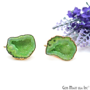 DIY Agate Slice Geode Druzy 22x29mm Gold Electroplated Loop Connector Studs Earrings - GemMartUSA