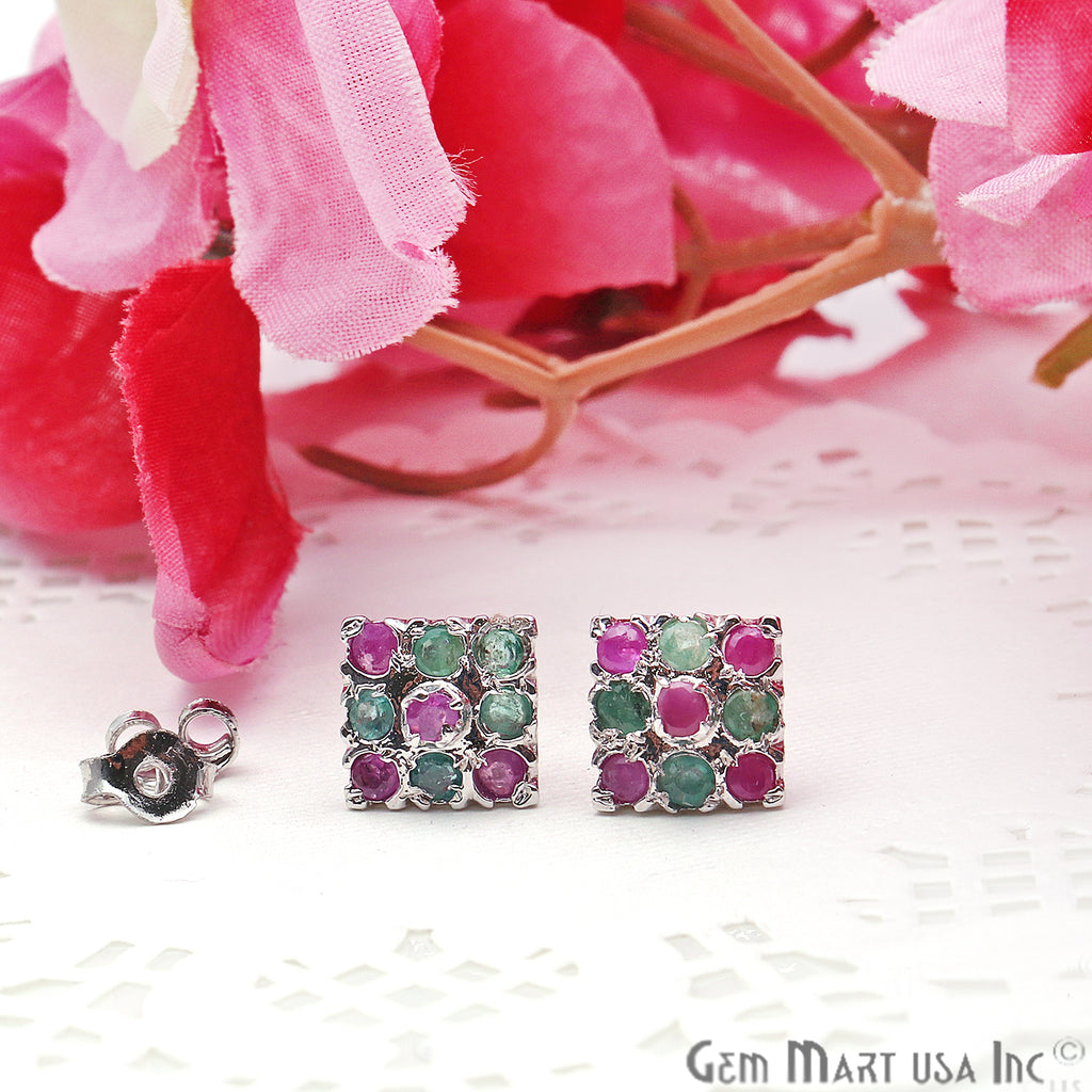 Emerald With Ruby 10mm Sterling Silver Square Shape Stud Earring