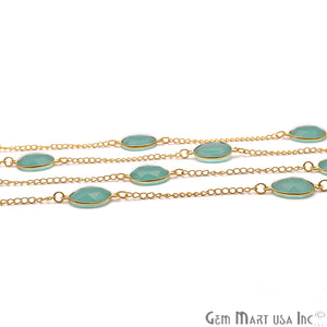 Aqua Chalcedony Faceted Oval Shape 10-15mm Gold Plated Bezel Connector Chain - GemMartUSA