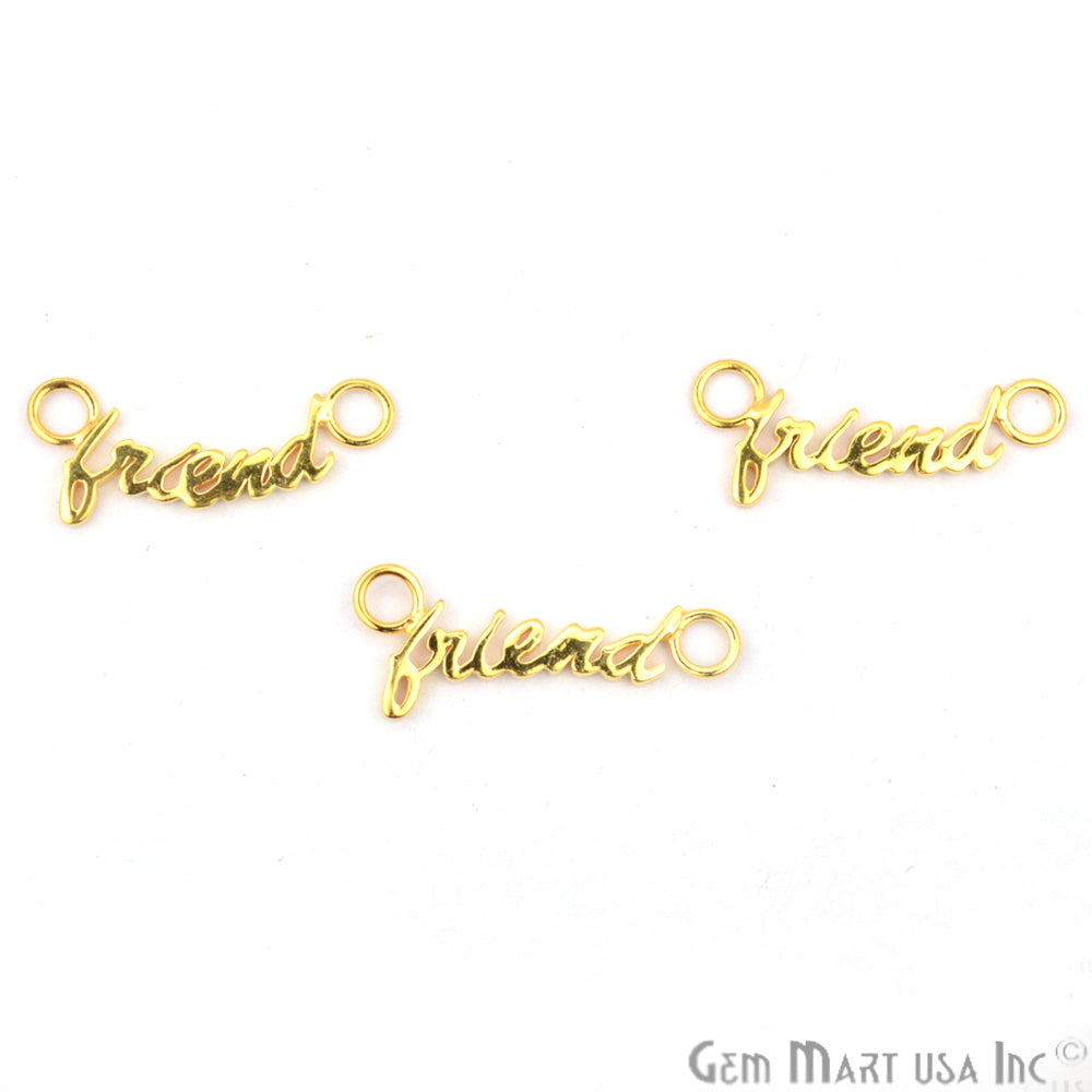 FRIEND Letter Gold Vermeil Charm for Bracelet Pendants & Necklace