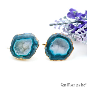 DIY Agate Slice Geode Druzy 23x26mm Gold Electroplated Loop Connector Studs Earrings - GemMartUSA