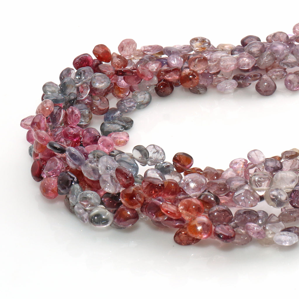 Natural Multi Spinel Gemstone 5mm Heart Shape Beaded Handmade Silver Wire Rondelle