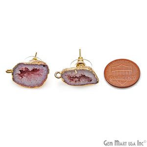 DIY Agate Slice Geode Druzy 14x24mm Gold Electroplated Loop Connector Studs Earrings - GemMartUSA