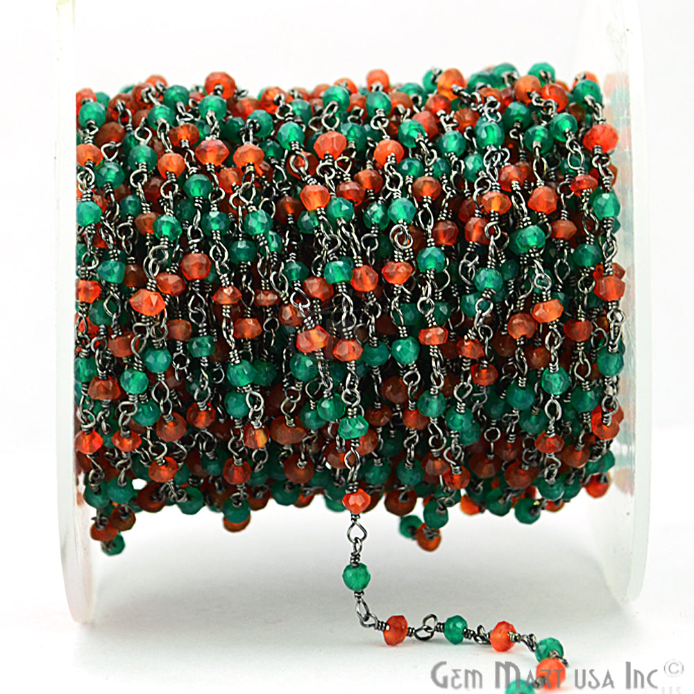 Carnelian With Green Onyx Gemstone Beaded Wire Wrapped Anglican Rosary Chain