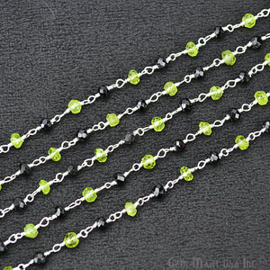 Black Spinel With Peridot Silver Plated Beads Rosary Chain