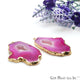 Agate Slice 47x29mm Organic Gold Electroplated Gemstone Earring Connector 1 Pair - GemMartUSA