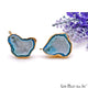 DIY Agate Slice Geode Druzy 22x30mm Gold Electroplated Loop Connector Studs Earrings - GemMartUSA