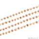 Peach Moonstone 6-7mm Gold Wire Wrapped Rondelle Faceted Bead Rosary Chain