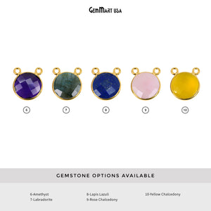 Round 16mm Cat Bail Gold Bezel Gemstone Connector (Pick Stone & Lot Size)