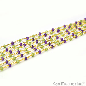 Amethyst With Peridot Gold Plated Wire Wrapped Rosary Chain
