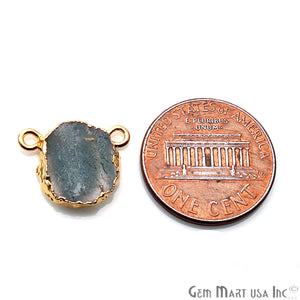 Rough Sulemani Stone Gemstone 15x12mm Gold Edge Cat Bail Connector Charm