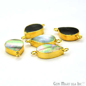 Abalone 13x18mm Pears Shape Gold Electroplated Double Bail Gemstone Connector - GemMartUSA
