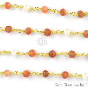 Sunstone With Pearl Gold Plated Wire Wrapped Beads Rosary Chain - GemMartUSA