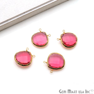 Gemstone 22x20mm Heart Shape Gold Electroplated Connector (Pick Your Gemstone) - GemMartUSA