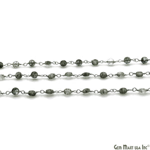 Rutilated Faceted 3-4mm Silver Wire Wrapped Rosary Chain - GemMartUSA