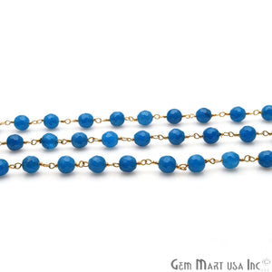 Sky Blue Jade 6mm Beads Gold Plated Wire Wrapped Rosary Chain - GemMartUSA