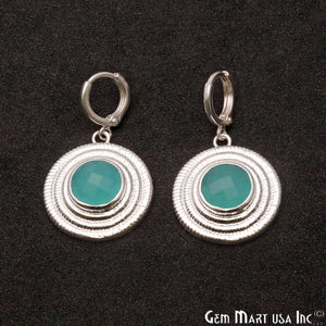 Gemstone Round 24x21mm Silver Plated Dangle Connector Earring 1 Pair (Pick Stone)