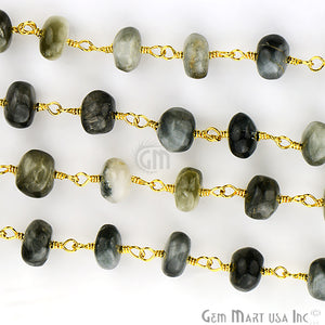 Cats Eyes 7-8mm Gold Plated Wire Wrapped Rosary Chain