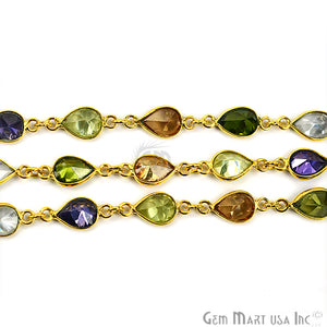 Multi Color Pears Shape 7x5mm Gold Plated Continuous Connector Chain - GemMartUSA
