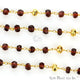 Garnet With Golden Pyrite 4mm Gold Plated Wire Wrapped Beads Rosary Chain - GemMartUSA