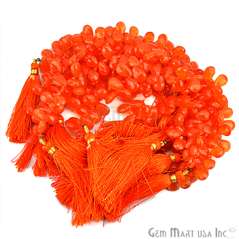 Carnelian Teardrops Faceted Gemstone 10mm Rondelle Beads