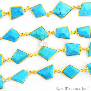 Turquoise 10-15mm Mix Faceted Gold Bezel Continuous Connector Chain - GemMartUSA