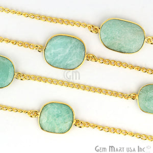 Amazonite 15mm Gold Plated Bezel Link Connector Chain - GemMartUSA