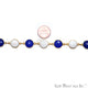 Blue Chalcedony & White Agate 12mm Round Gold Bezel Continuous Connector Chain - GemMartUSA