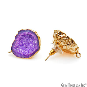 DIY Agate Slice Geode Druzy 22x27mm Gold Electroplated Loop Connector Studs Earrings - GemMartUSA