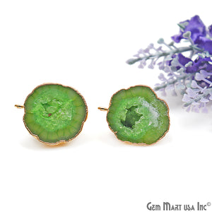 DIY Agate Slice Geode Druzy 26x21mm Gold Electroplated Loop Connector Studs Earrings - GemMartUSA