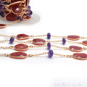 Carnelian With Amethyst Beads 10-15mm Gold Plated Rosary Connector Chain - GemMartUSA