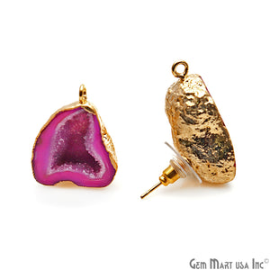 DIY Agate Slice Geode Druzy 19x24mm Gold Electroplated Loop Connector Studs Earrings - GemMartUSA