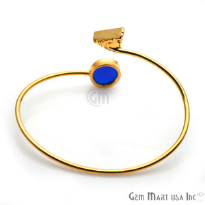 Blue Chalcedony & Green Druzy Gold Plated Adjustable Bangle Bracelet