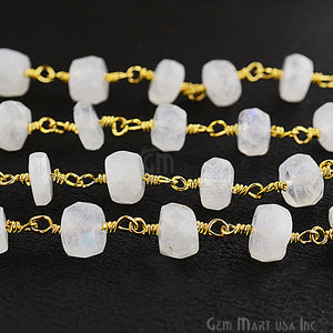 Rainbow Moonstone Rondelle 6-7mm Beads Chain, Gold Plated Wire Wrapped Rosary Chain - GemMartUSA