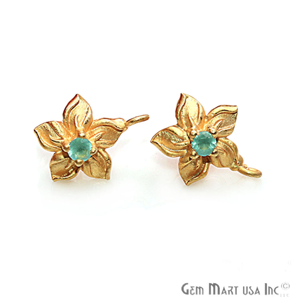 DIY Gemstone Gold Plated Loop Post Stud Earring 1 Pair (Pick Your Gemstone)