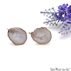 DIY Agate Slice Geode Druzy 19x25mm Gold Electroplated Loop Connector Studs Earrings - GemMartUSA