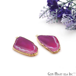 Agate Slice 40x21mm Organic Gold Electroplated Gemstone Earring Connector 1 Pair - GemMartUSA