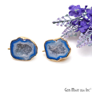 DIY Agate Slice Geode Druzy 23x30mm Gold Electroplated Loop Connector Studs Earrings - GemMartUSA