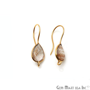 Pear Shape 31x9mm Gemstone Connector Hook Earrings (Pick your Gemstone)