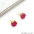 Pink Color Druzy Round 10mm Gold Plated Connector Stud Earring