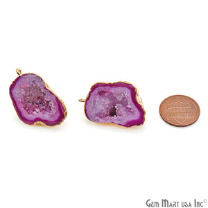 DIY Agate Slice Geode Druzy 33x22mm Gold Electroplated Loop Connector Studs Earrings - GemMartUSA