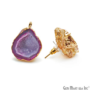 DIY Agate Slice Geode Druzy 20x27mm Gold Electroplated Loop Connector Studs Earrings - GemMartUSA