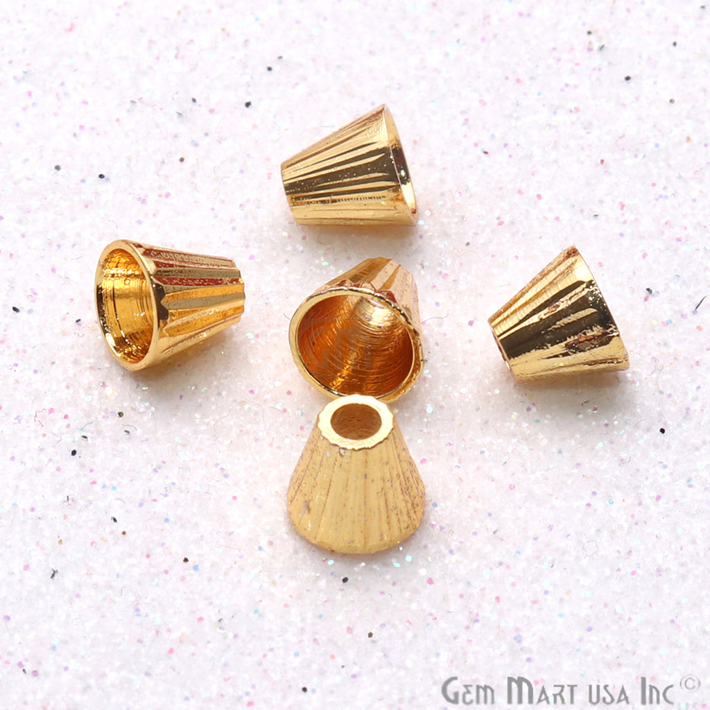 5pc Lot Gold Plated Cone Acrylic Findings 6x5mm Tassel Caps