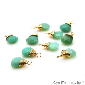 Chrysoprase Drop 15x9mm Gold Wire Wrapped Gemstone Connector - GemMartUSA