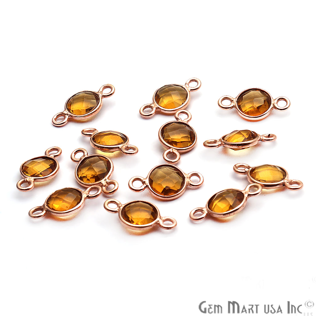 Citrine Bezel 6mm Round Shape Double Bail Gemstone Connector (Pick Your Plating)